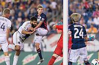 Foxborough, Massachusetts - August 13, 2016:  In a Major League Soccer (MLS) match, Philadelphia Union (white) defeated New England Revolution (blue/white), 4-0, at Gillette Stadium.<br /> Scoring effort.