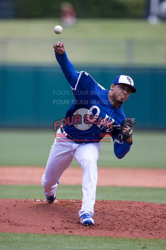 Jair Jurrjens (15) of the Oklahoma City Dodgers pitches during a game against the Iowa Cubs at Chickasaw Bricktown Ballpark on April 9, 2016 in Oklahoma City, Oklahoma.  Oklahoma City defeated Iowa 12-1 (William Purnell/Four Seam Images)