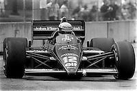 DETROIT, MI - JUNE 23: Ayrton Senna drives the Lotus 97T/Renault EF15 during the Detroit Grand Prix FIA Formula One World Championship race at the Detroit Street Circuit in Detroit, Michigan, on June 23, 1985.