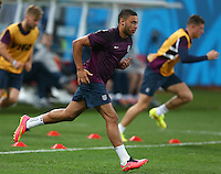 Alex Oxlade-Chamberlain of England, recovering from a knee injury, during training ahead of tomorrow's Group D match vs Uruguay