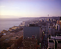 BI32,843-01...WASHINGTON - A 1965 photograph of the Seattle skyline,Elliott Bay and the Space Needle at sunset.
