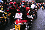 'GAYFEST MANCHESTER, UK', 'GAY BIKERS UP NORTH' DRIVE THROUGH ON THEIR BIKES DURING THE GAY PARADE  IN MANCHESTER,