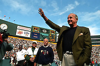 Former Green Bay Packers receiver Max McGee waves to the fans at Lambeau Field as he is introduced to the fans prior to the September 15, 1996 game against the San Diego Chargers. Part of the Packers' commitment to the fans involves bringing back past Packers for an alumni appreciation day.