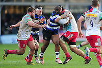 Beno Obano of Bath Rugby takes on the Harlequins defence. Aviva Premiership match, between Bath Rugby and Harlequins on February 18, 2017 at the Recreation Ground in Bath, England. Photo by: Patrick Khachfe / Onside Images