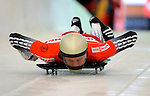 14 December 2007: Tomass Dukurs, racing for Latvia, starts his first run at the FIBT World Cup Skeleton Competition at the Olympic Sports Complex on Mount Van Hovenberg, at Lake Placid, New York, USA. ..Mandatory Photo Credit: Ed Wolfstein Photo