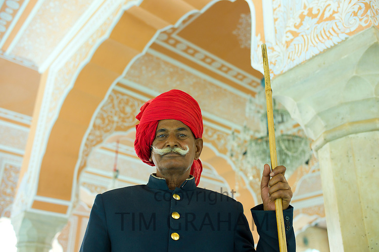 Royal ceremonial guard at The Maharaja of Jaipur's Moon Palace in the Hall of Private Audience in Jaipur, Rajasthan, India RESERVED USE - NOT FOR DOWNLOAD -  FOR USE CONTACT TIM GRAHAM