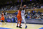 18 January 2015: Duke's Amber Henson (30) and Miami's Necole Sterling (15). The Duke University Blue Devils hosted the University of Miami Hurricanes at Cameron Indoor Stadium in Durham, North Carolina in a 2014-15 NCAA Division I Women's Basketball game. Duke won the game 68-53.