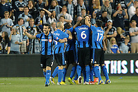 KANSAS CITY, KS - June 1, 2013:<br /> Impact players celebrate what turned out to be the game winning goal.<br /> Montreal Impact defeated Sporting Kansas City 2-1 at Sporting Park.