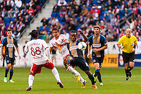 Amobi Okugo (14) of the Philadelphia Union plays the ball during the first half against the New York Red Bulls during a Major League Soccer (MLS) match at Red Bull Arena in Harrison, NJ, on March 30, 2013.