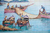 Ceramic mural of fisherman at sea on the Amalfi Coast, Italy