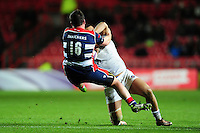 Robbie Fruean of Bath Rugby fends Marc Jones of Bristol Rugby. European Rugby Challenge Cup match, between Bristol Rugby and Bath Rugby on January 13, 2017 at Ashton Gate Stadium in Bristol, England. Photo by: Patrick Khachfe / Onside Images