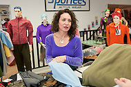 Andrea Rodger of Sportees Active Wear shows new fabrics and designs to customers