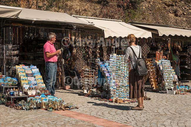 Tourist souvenir shops, Varlaam, Meteora, Greece