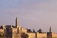 The Citadel of David and Dormition Abbey along the walls of Jerusalem's Old City.