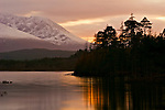 Sunset at Loch Lochy in late November, Scotland.