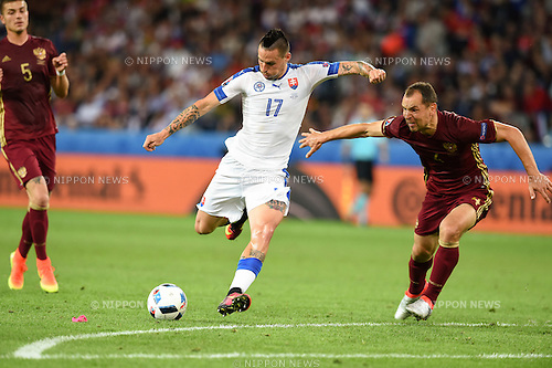 Marek Hamsik (Slovakia) Sergei Ignashevich (Russia) ; <br /> June 15, 2016 - Football : Uefa Euro France 2016, Group B, Russia 1-2 Slovakia at Stade Pierre Mauroy, Lille Metropole, France.; ;(Photo by aicfoto/AFLO)