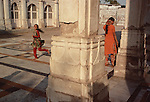 "Children play at the Sarkhej Roza, a famouse sight on the outskirts of Ahmedabad, Gujarat is an example of the early Islamic architectural culture of the region, which fused Islamic stylistic influences from Persia with indigenous Hindu and Jain features to form a composite ""Indo-Saracenic"" architectural style."