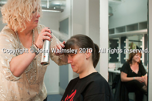"Hairdressing before the show.  Special Olympics Surrey put on a show,   ""Beyond the Stars"", at the Rose Theatre, Kingston upon Thames to raise money for the  SOGB team.  The Special Olympics are for athletes with learning disabilities."