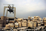 Europe, Greece, Athens. Restoration in progress at the ruins of the Acropolis in Athens.