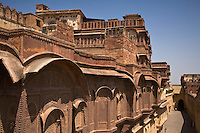 The MEHERANGARH FORT built by Maharaja Man Singh in 1806 is a fine example of Rajput architecture - JOHDPUR, RAJASTHAN, INDIA