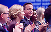 Conservative Party Conference Manchester Great Britain <br /> 5th October 2015 <br /> David Cameron watches <br /> <br /> <br /> George Osborne<br /> First Secretary of State<br /> Chancellor of the Exchequer <br /> keynote speech <br /> <br /> <br /> Photograph by Elliott Franks <br /> Image licensed to Elliott Franks Photography Services