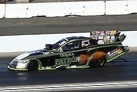 Nov 13, 2016; Pomona, CA, USA; NHRA funny car driver Jeff Arend during the Auto Club Finals at Auto Club Raceway at Pomona. Mandatory Credit: Mark J. Rebilas-USA TODAY Sports