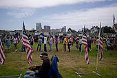 San Diego, California<br /> July 13, 2012<br /> <br /> &quot;Stand Down&quot; held by Veterans Village San Diego. It is a three day event attended by 1,000+ homeless vets annually. <br /> <br /> Veterans line up to take their lunch as one of three meals served for free each day.<br /> <br /> It provides them with shower facilities, hair cuts, and clothing. Also with direct access to the Veterans Affairs they have possibilities for housing and medical attention as well as help for substance abuse.