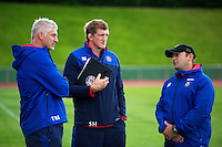 Bath Director of Rugby Todd Blackadder, Stuart Hooper and first team coach Darren Edwards have a word after the match. Pre-season friendly match, between the Scarlets and Bath Rugby on August 20, 2016 at Eirias Park in Colwyn Bay, Wales. Photo by: Patrick Khachfe / Onside Images