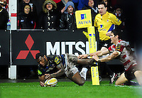 Semesa Rokoduguni of Bath Rugby scores his first try of the match. Aviva Premiership match, between Gloucester Rugby and Bath Rugby on March 26, 2016 at Kingsholm Stadium in Gloucester, England. Photo by: Patrick Khachfe / Onside Images
