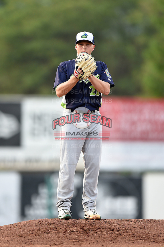 Vermont Lake Monsters pitcher Jerad Grundy (21) gets ready to deliver a warmup pitch during a game against the Jamestown Jammers on July 12, 2014 at Russell Diethrick Park in Jamestown, New York.  Jamestown defeated Vermont 3-2.  (Mike Janes/Four Seam Images)