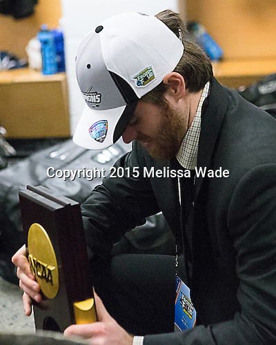Conor MacPhee (PC - 29) - The Providence College Friars celebrated their national championship win after the Frozen Four final at TD Garden on Saturday, April 11, 2015, in Boston, Massachusetts.