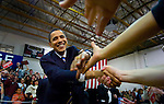 "Democratic presidential candidate Sen. Barack Obama (D-IL) shake the hands of supporters as he arrives at his ""meet the candidate"" rally with at the Carson City Community Center in Carson City NV., Monday Jan. 14, 2008. (Brian Baer/ Sacramento Bee/ MCT)"