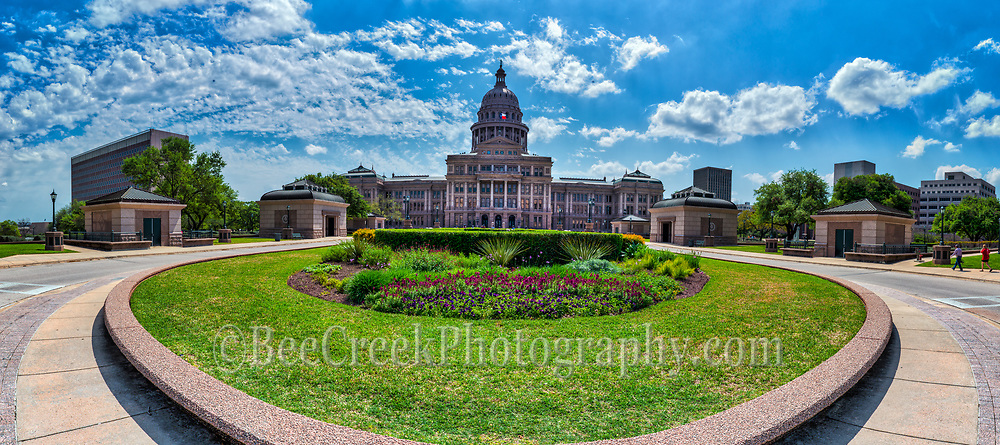 Another capture of the texas capital in downtown Austin in a panorama.  This area has the wonderful colors of spring in this 180 degrees pano.