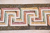 Roman Geometric  Swastica mosaic decorations of the Triclinium C, Villa Farnesia, Rome. Museo Nazionale Romano ( National Roman Museum), Rome, Italy.
