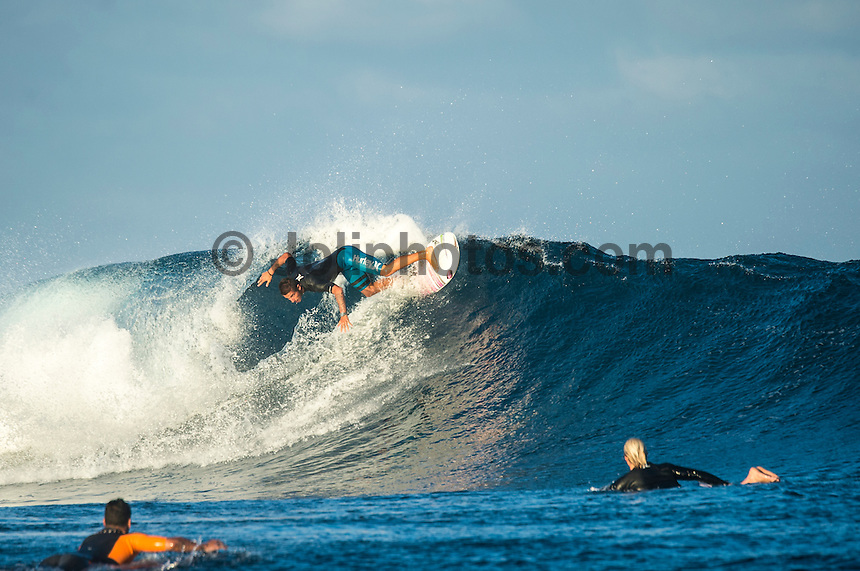 Namotu Island Resort, Namotu, Fiji. (Wednesday June 4, 2014) Filipe Toledo (BRA) – The 2014 Fiji Pro was called on again this morning with the swell running in the 3' -4' range. The contest started early with Round 2 and continued till late in the afternoon, ending with Heat 6 of Round 3.The conditions stayed contestable all day with some clean barrels around the bottom of the tide. Photo: joliphotos.com