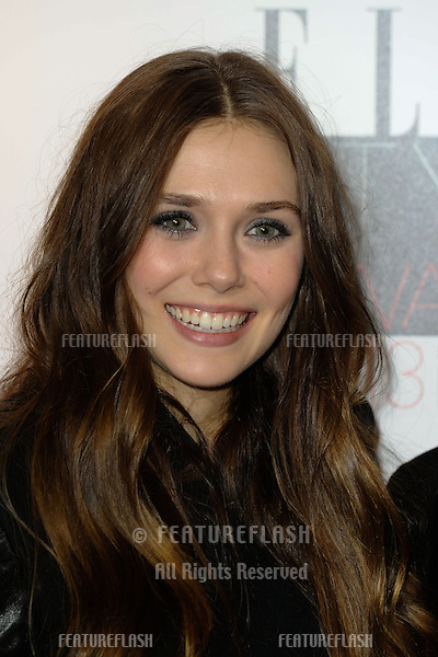 Elisabeth Olsen in the winners room at the 2013 Elle Style Awards, at The Savoy, London. 11/02/2013 Picture by: Steve Vas / Featureflash