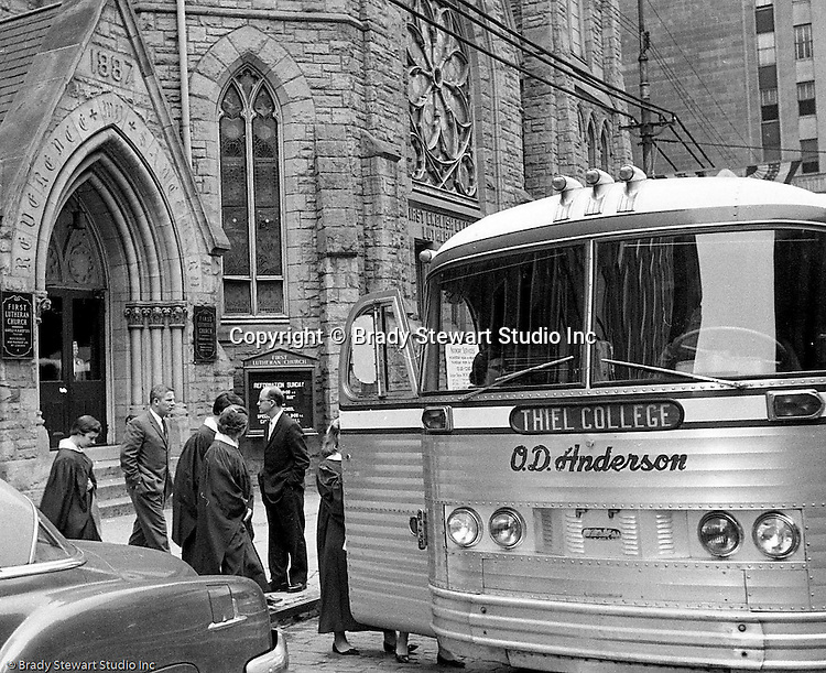 Pittsburgh PA:  Members of the First Lutheran Church of Pittsburgh on a field trip to Thiel College in Greenville PA.  Thiel College was establish by a Lutheran Pastor, William Passavant in 1866.