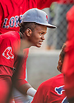 4 September 2016: Lowell Spinners outfielder Yoan Aybar in the dugout during a game against the Vermont Lake Monsters at Centennial Field in Burlington, Vermont. The Spinners defeated the Lake Monsters 8-3 in NY Penn League action. Mandatory Credit: Ed Wolfstein Photo *** RAW (NEF) Image File Available ***