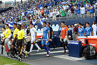 El Salvador and HondurasHonduras players celebrate at the end of the match players enter the field... Honduras defeated El Salvador 3-2 after extra time to go through to the final at LIVESTRONG Sporting Park, Kansas City, Kansas.