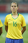 09 August 2008: Erika (BRA).  The women's Olympic soccer team of Brazil defeated the women's Olympic soccer team of North Korea 2-1 at Shenyang Olympic Sports Center Wulihe Stadium in Shenyang, China in a Group F round-robin match in the Women's Olympic Football competition.