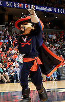 CHARLOTTESVILLE, VA- DECEMBER 6: The Virginia Cavaliers mascot during the game on December 6, 2011 against the George Mason Patriots at the John Paul Jones Arena in Charlottesville, Virginia. Virginia defeated George Mason 68-48. (Photo by Andrew Shurtleff/Getty Images) *** Local Caption ***