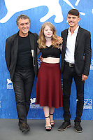 ENICE, ITALY - SEPTEMBER 08:  Director Reha Erdem, actress Ecem Uzun and actor Berke Karaer  attends a photocall for 'Big Big World' during the 73rd Venice Film Festival at Palazzo del Casino on September 8, 2016 in Venice, Italy.<br /> CAP/GOL<br /> &copy;GOL/Capital Pictures /MediaPunch ***NORTH AND SOUTH AMERICAS ONLY***