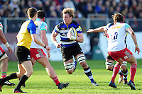 David Denton of Bath Rugby in possession. Aviva Premiership match, between Bath Rugby and Harlequins on February 18, 2017 at the Recreation Ground in Bath, England. Photo by: Patrick Khachfe / Onside Images