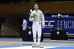 DURHAM, NC - FEBRUARY 26: Notre Dame's Jonah Shainberg waits for the Men's Saber final to begin. The Atlantic Coast Conference Fencing Championships were held on February, 26, 2017, at Cameron Indoor Stadium in Durham, NC.