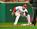 28 September 2010: Washington Nationals' infielder Ian Desmond in action against the Philadelphia Phillies at Nationals Park in Washington, DC. The Nationals defeated the Phillies 2-1 on an Adam Dunn walk-off solo homer in the 9th inning to even up their 3-game series one game apiece. Mandatory Credit: Ed Wolfstein Photo