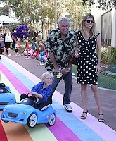 CULVER CITY, CA - SEPTEMBER 24: Gary Busey, Luke Busey, Steffanie Sampson attends the Step2 & Favored.by Present The 5th Annual Red Carpet Safety Awareness Event at Sony Pictures Studios on September 24, 2016 in Culver City, California. (Credit: Parisa Afsahi/MediaPunch).