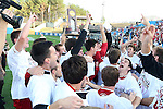 09 December 2012: Indiana players celebrate with the championship trophy. The Georgetown University Hoyas played the Indiana University Hoosiers at Regions Park Stadium in Hoover, Alabama in the 2012 NCAA Division I Men's Soccer College Cup Final. Indiana won the game 1-0.