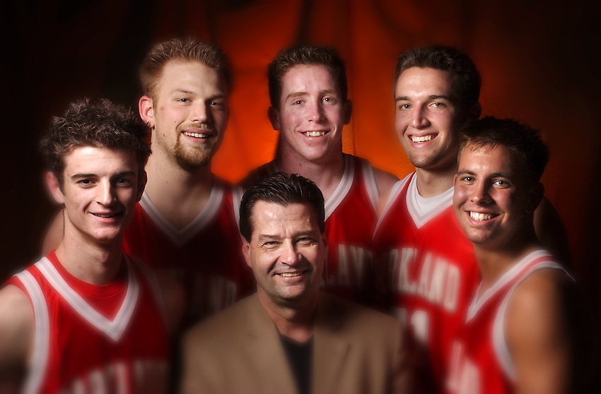 ALLENTOWN : BASKETBALL TEAM OF THE YEAR: Parkland basketball team was named team of the year by THE MORNING CALL: Here (from left) are: starter Chris Huber, Coach  Rich Fatzinger, starter Kevin Bassler. Back row: starters Robert Little, Eddie Ohlson, and Adam Lane (CHUCK ZOVKO / TMC)