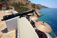 Port Fortifications & restaurant, Hydra, Greek Saronic Islands