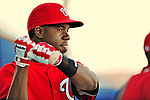 5 March 2012: Washington Nationals outfielder Eury Perez awaits his turn in the batting cage prior to a Spring Training game against the New York Mets at Digital Domain Park in Port St. Lucie, Florida. The Nationals defeated the Mets 3-1 in Grapefruit League play. Mandatory Credit: Ed Wolfstein Photo